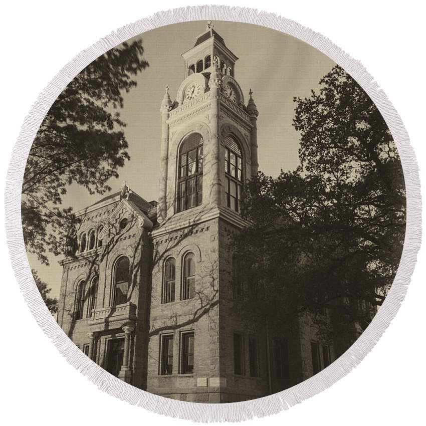 Courthouse Round Beach Towel featuring the photograph Llano County Courthouse - Vintage by Stephen Stookey