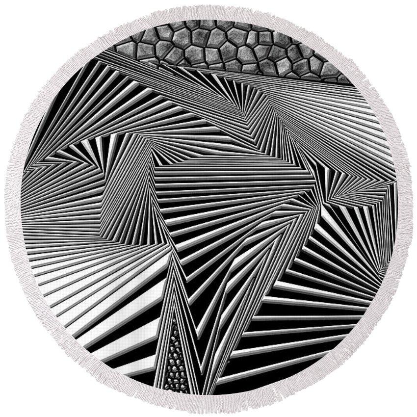 Dynamic Black And White Round Beach Towel featuring the digital art Lliemohta by Douglas Christian Larsen