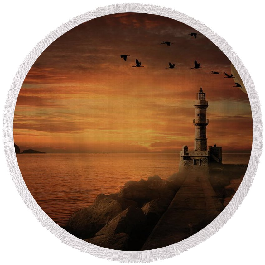 Light House Round Beach Towel featuring the photograph Llight House By Moonlight by Andrea Kollo
