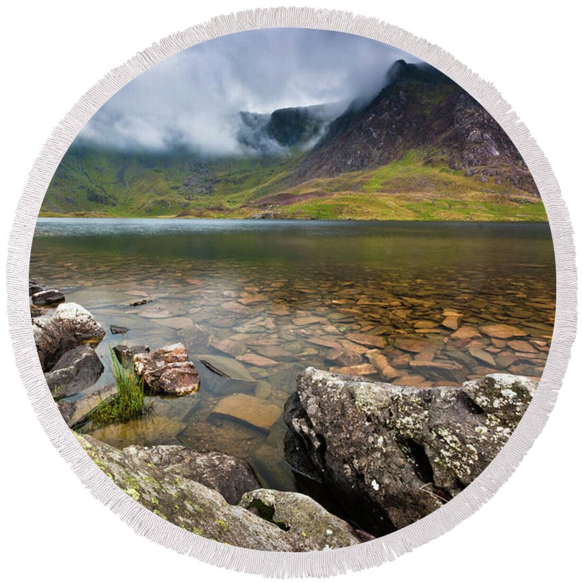 Round Beach Towel featuring the photograph Llyn Idwal #1, Cwm Idwal, Snowdonia, North Wales by Anthony Lawlor