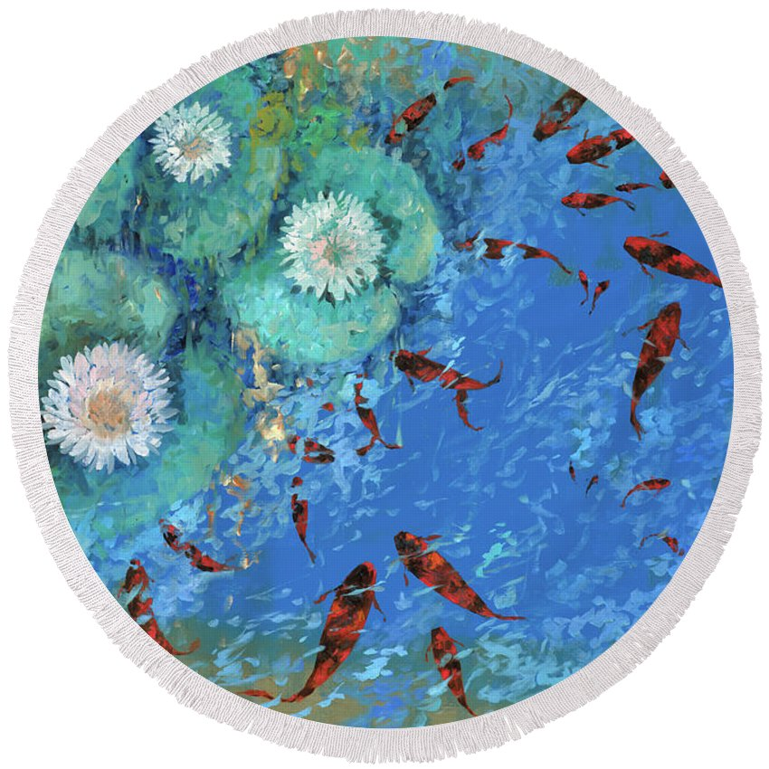 Fishscape Round Beach Towel featuring the painting Lo Stagno by Guido Borelli