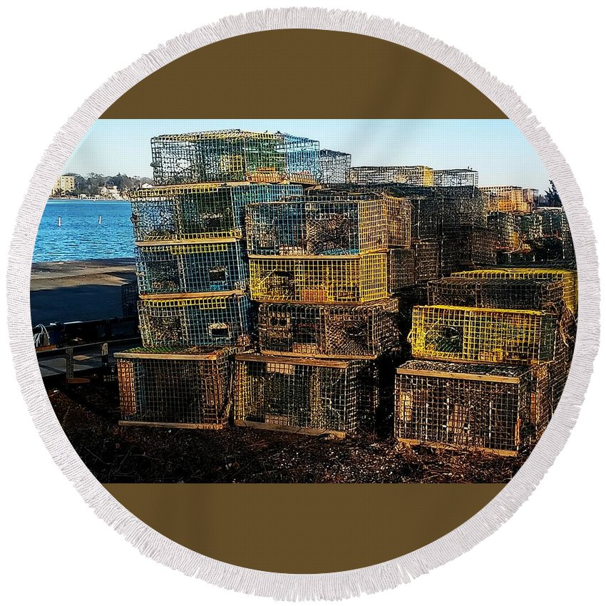 Lobster Pots On Town River Quincy Mass Round Beach Towel featuring the photograph Lobster Pots by Bill Driscoll