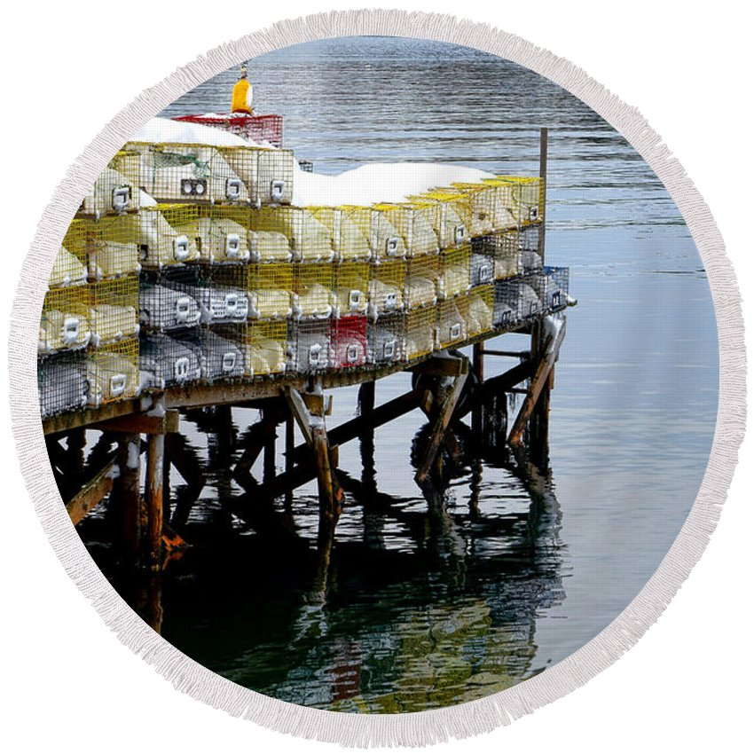 Maine Round Beach Towel featuring the photograph Lobster Traps In Winter by Olivier Le Queinec