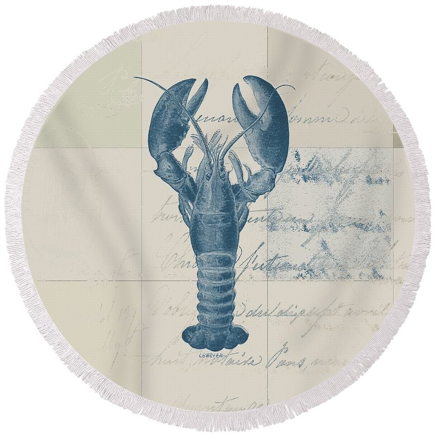 Lobster Round Beach Towel featuring the digital art Lobster - J122129185-1211 by Variance Collections