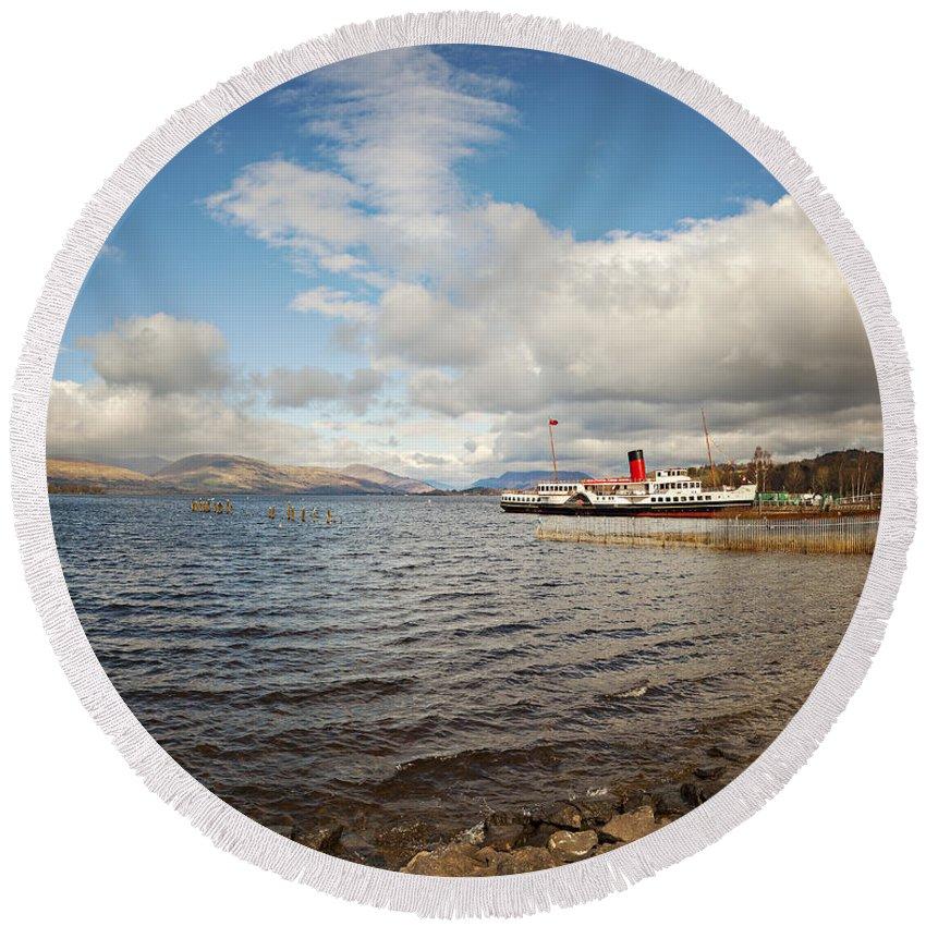 Scotland Round Beach Towel featuring the photograph Loch Lomond Landscape by Sophie McAulay