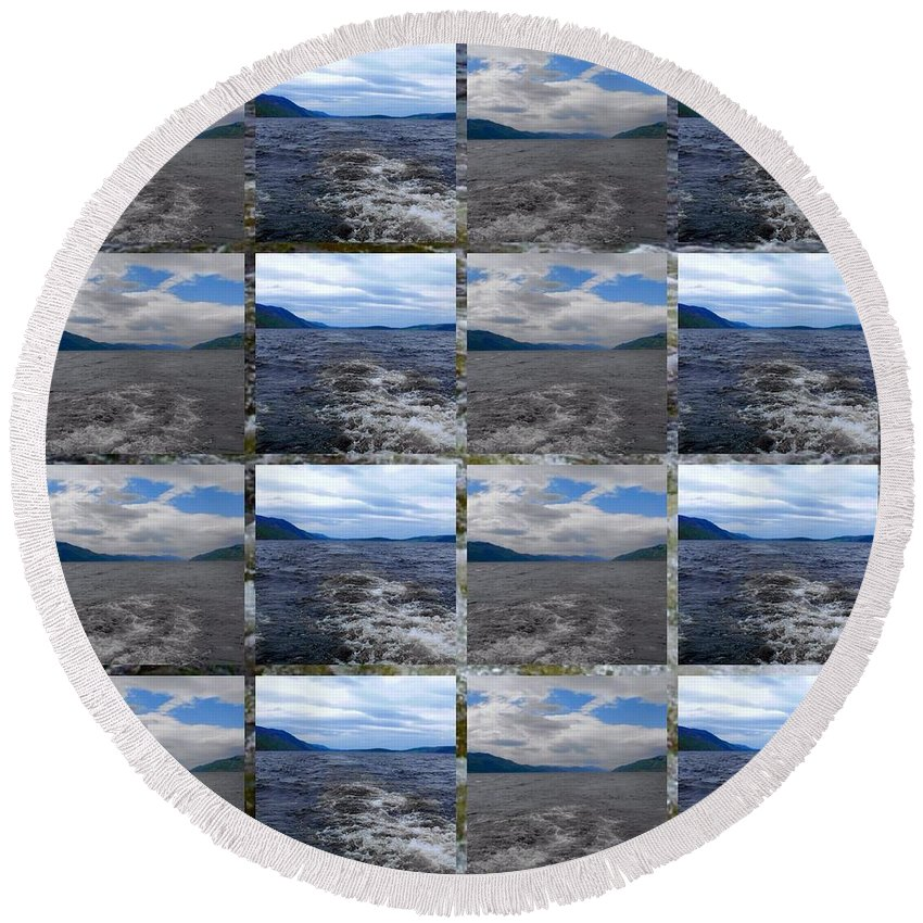 Loch Ness Round Beach Towel featuring the photograph Loch Ness In Squares by Joan-Violet Stretch