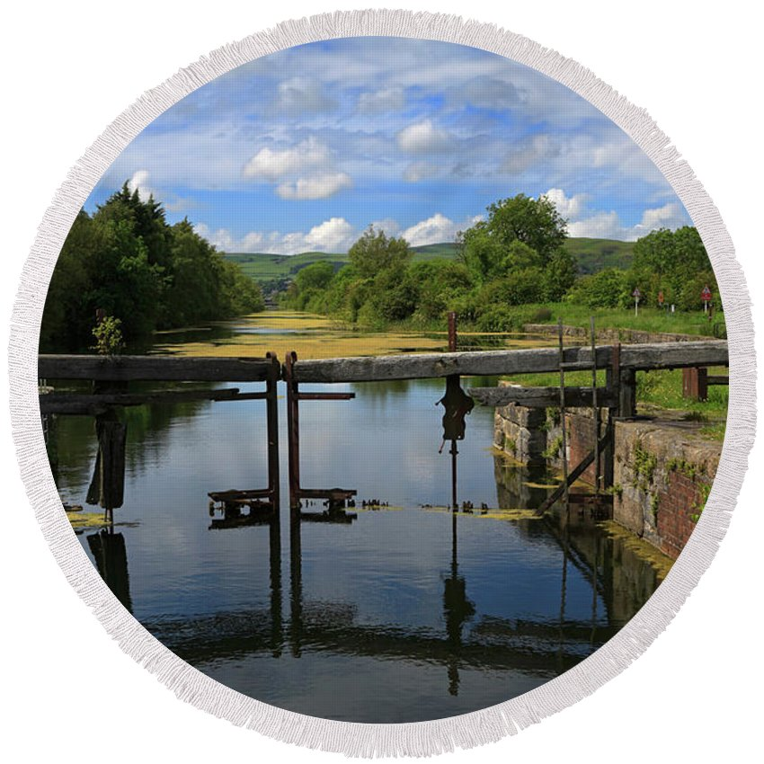 Lock Round Beach Towel featuring the photograph Lock Gates On The Old Canal by Louise Heusinkveld