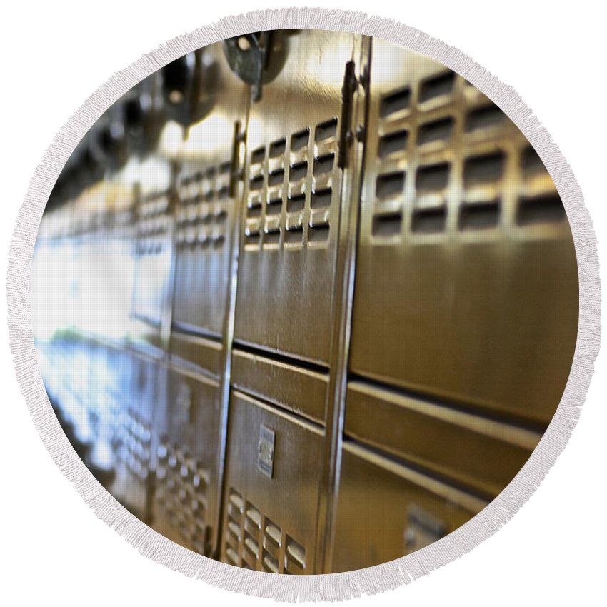 Lockers Round Beach Towel featuring the photograph Lockers by Bill Owen