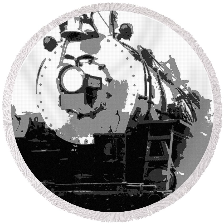 Locomotive Round Beach Towel featuring the mixed media Locomotion by Richard Rizzo