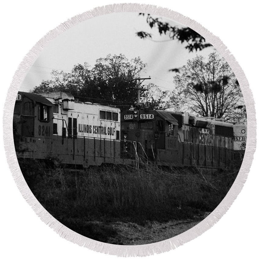 Railway Round Beach Towel featuring the photograph Locomotive 8241 by Alan Look