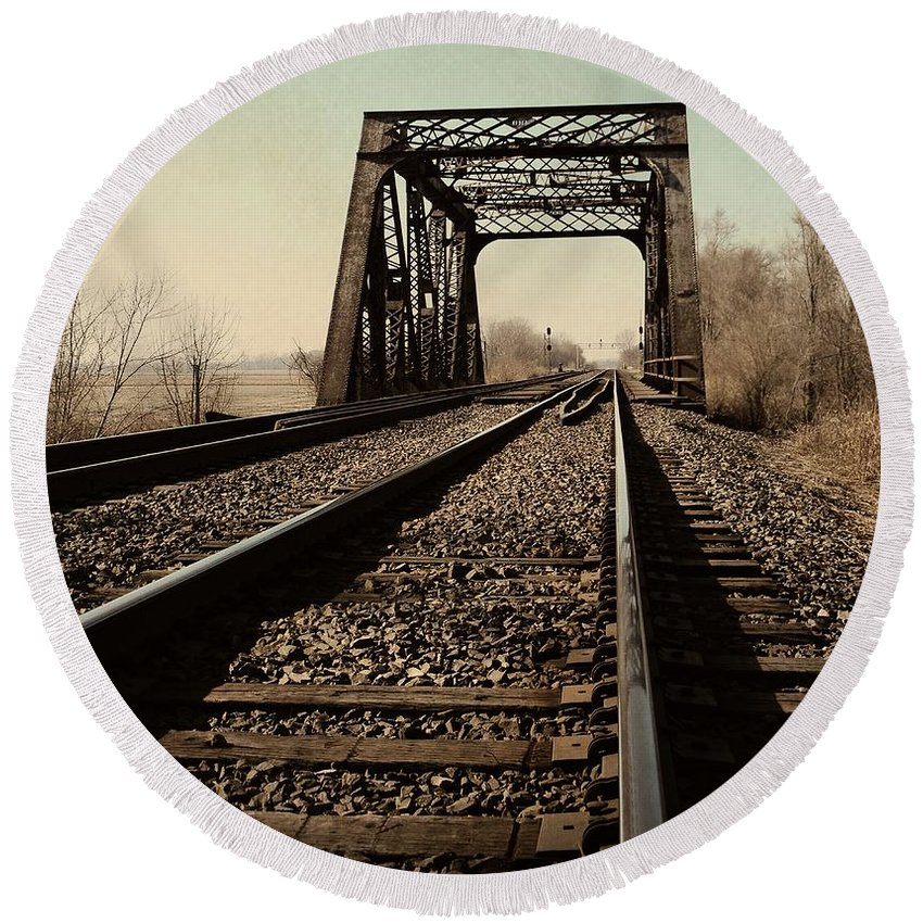 Train Round Beach Towel featuring the photograph Locomotive Truss Bridge by Chris Berry