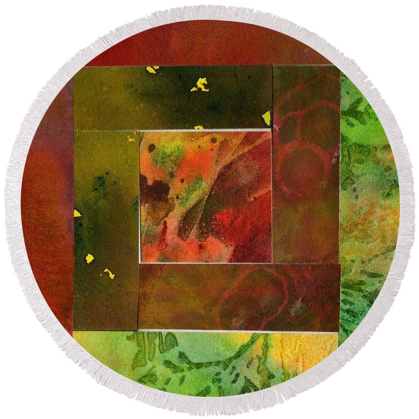 Abstract Round Beach Towel featuring the painting Log Cabin 2004 by Katherine Berlin