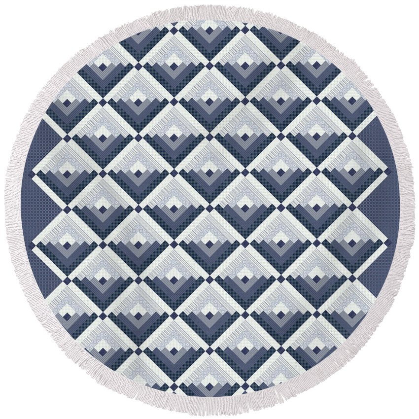 Quilt Round Beach Towel featuring the digital art Log Cabin Blues Quilt by Jean Plout