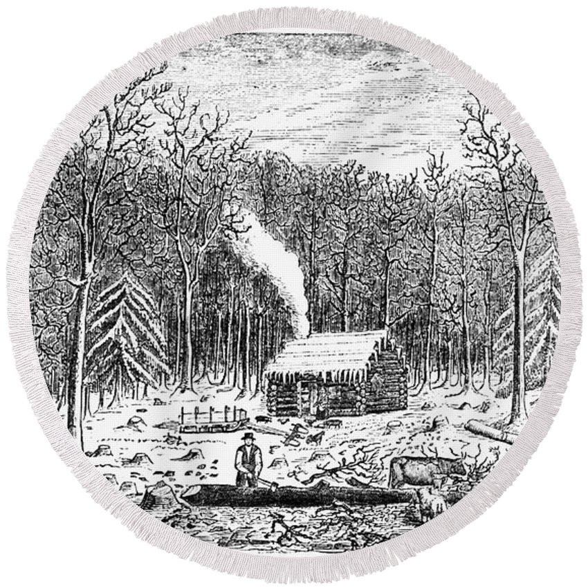 1790s Round Beach Towel featuring the photograph Log Cabin, C1800 by Granger
