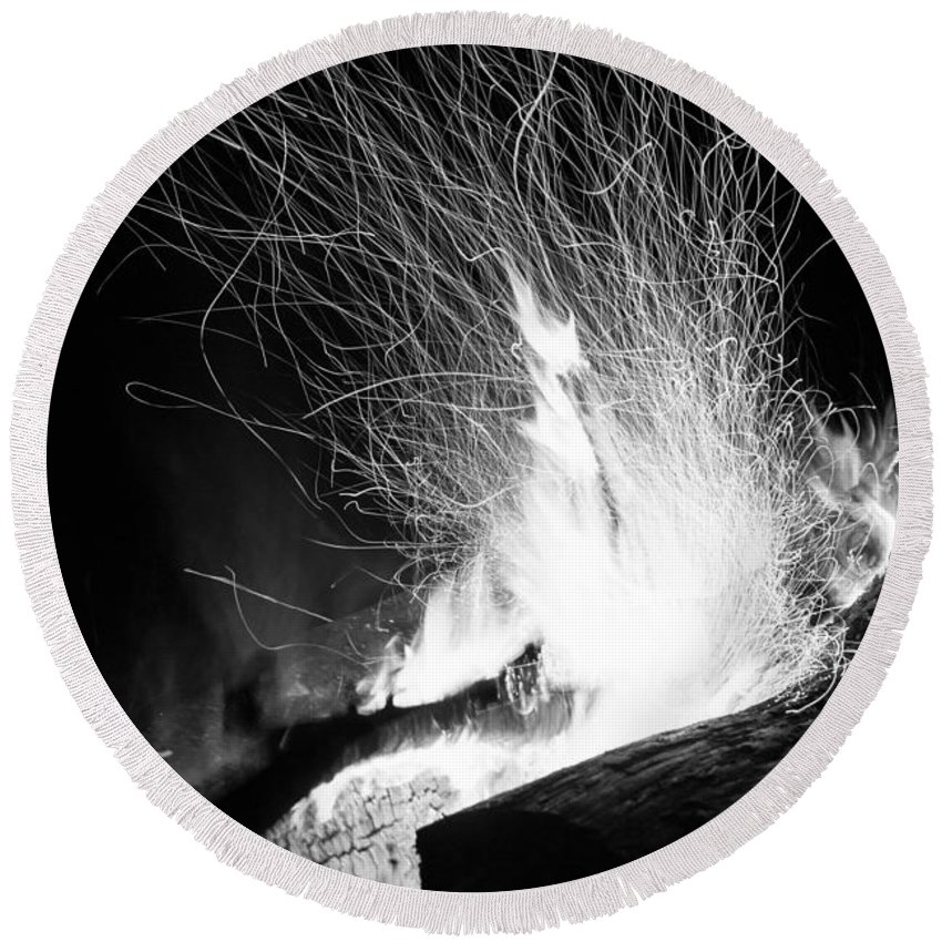 Background Round Beach Towel featuring the photograph Log Campfire Burning At Night by John Williams
