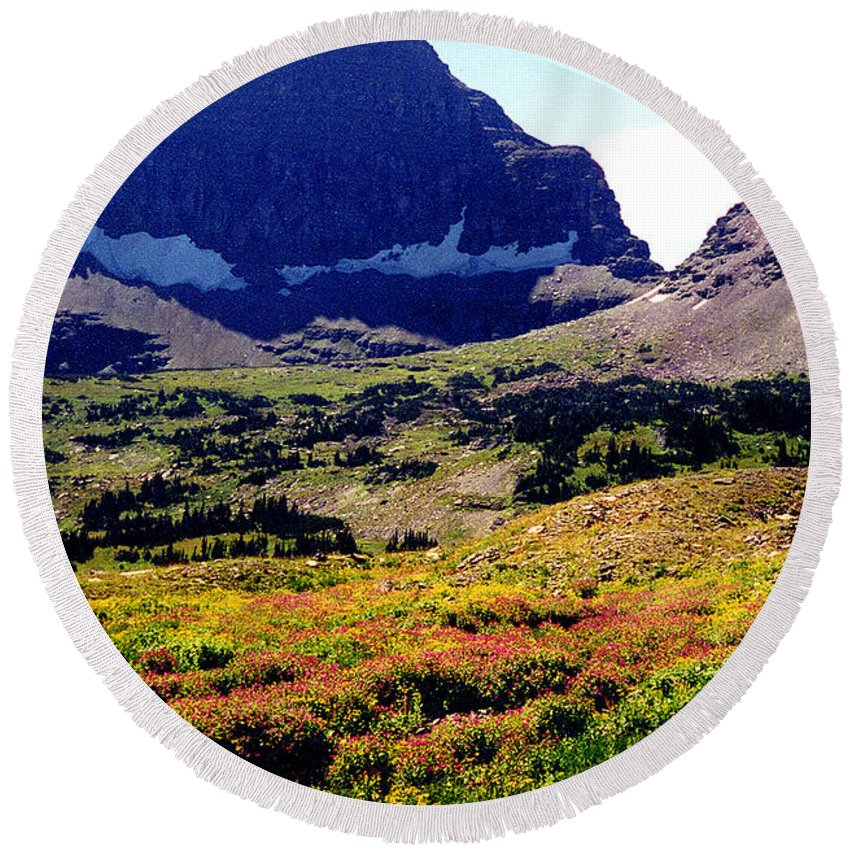 Glacier National Park Round Beach Towel featuring the photograph Logans Pass In Glacier National Park by Nancy Mueller