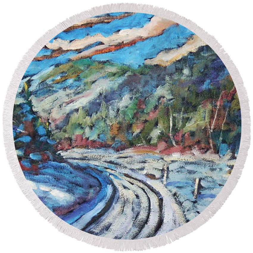 Loggers Round Beach Towel featuring the painting Loggers Road by Richard T Pranke
