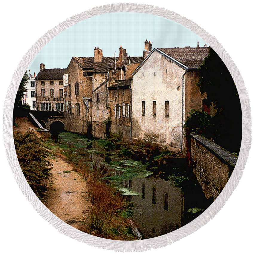 France Round Beach Towel featuring the photograph Loire Valley Village Scene by Nancy Mueller
