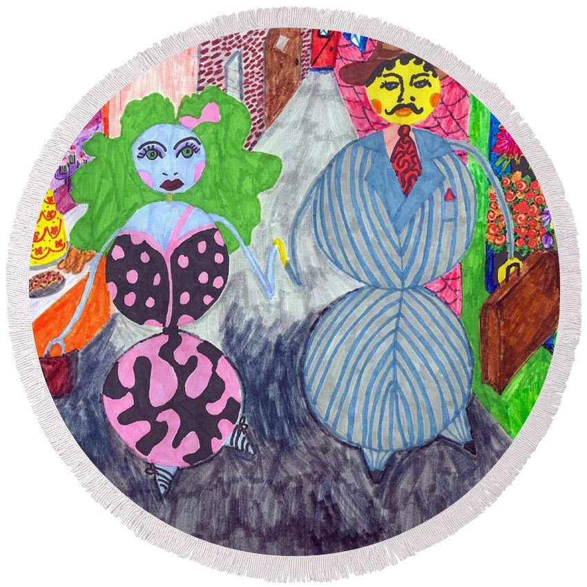 Marker Art Round Beach Towel featuring the painting Lois And Arnold Roundabout by Stacey Torres