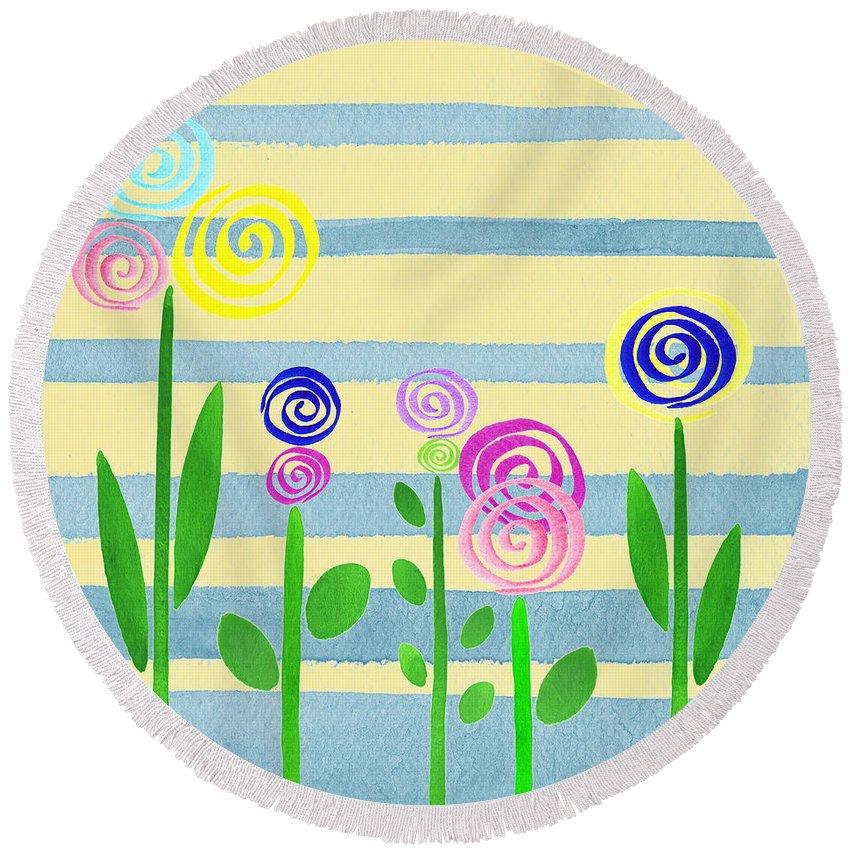 Lollipop Flower Bed Round Beach Towel featuring the painting Lollipop Flower Bed by Irina Sztukowski