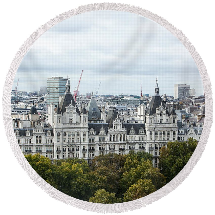 London Round Beach Towel featuring the photograph London Along The River Thames by Stephen Schwiesow