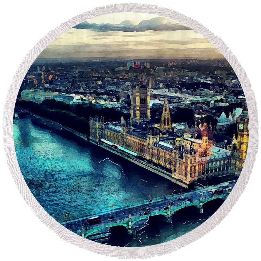London Round Beach Towel featuring the painting London City by Justyna JBJart