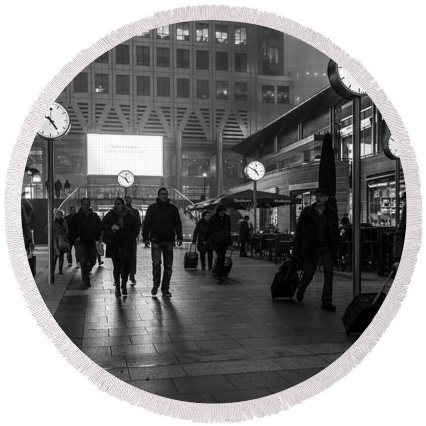 London Round Beach Towel featuring the photograph London Time by Adrian Brown