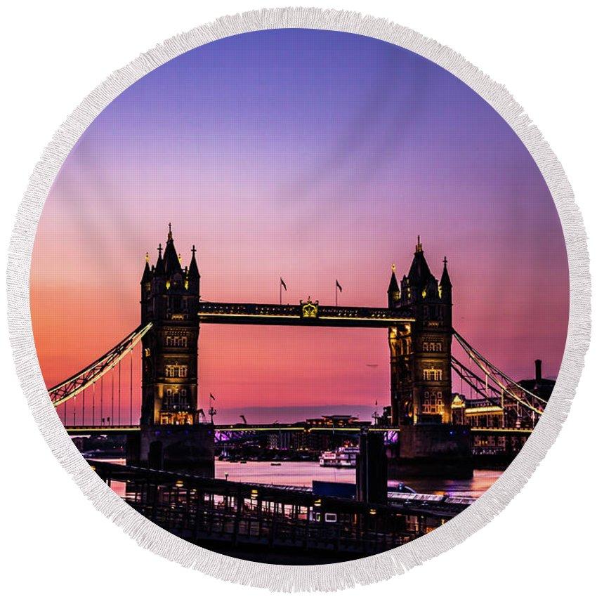 Tower Bridge Round Beach Towel featuring the photograph Tower Bridge, London. by Nigel Dudson