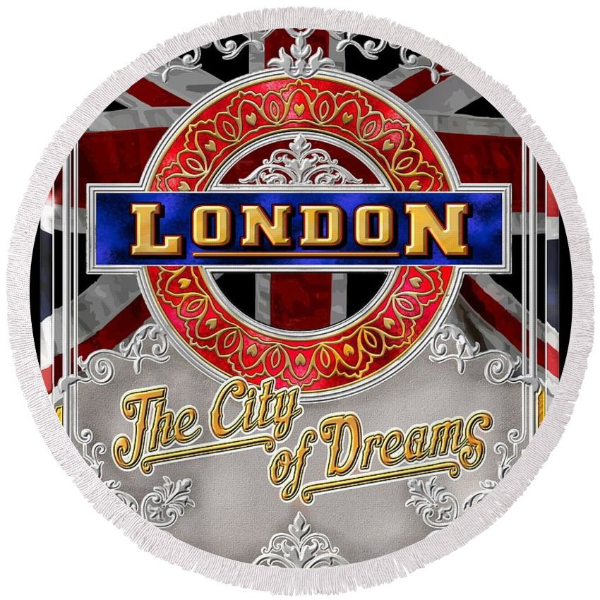 London Round Beach Towel featuring the digital art London Town by Clive Norton