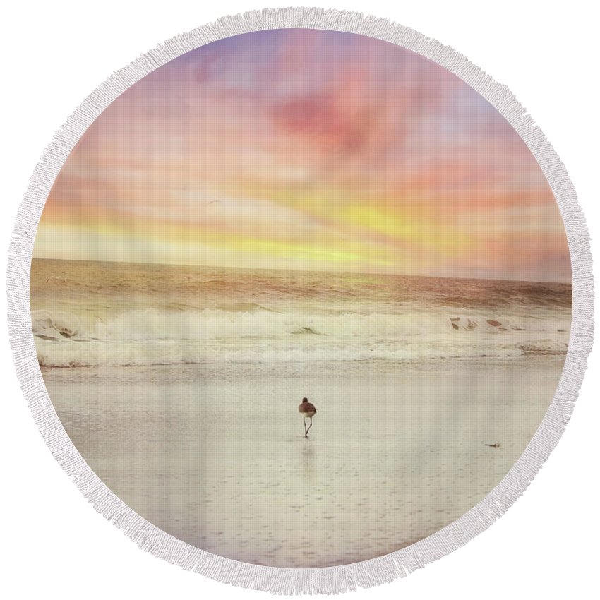 Landscape Round Beach Towel featuring the photograph Lone Bird At Sunset by Sue Collura