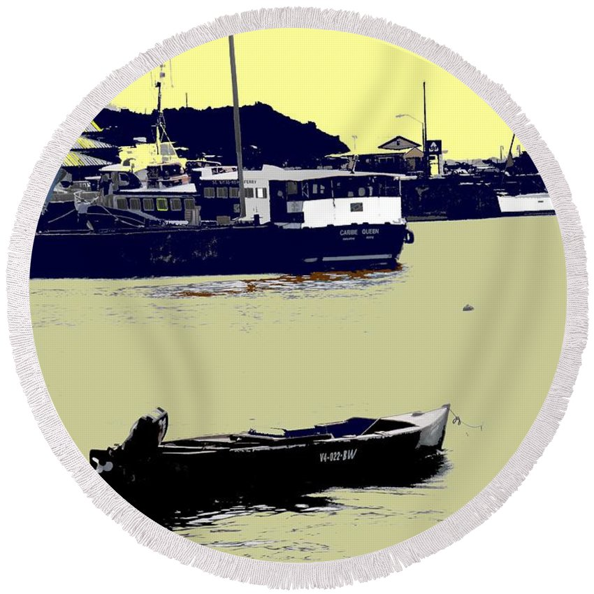 St Kitts Round Beach Towel featuring the photograph Lone Boat by Ian MacDonald