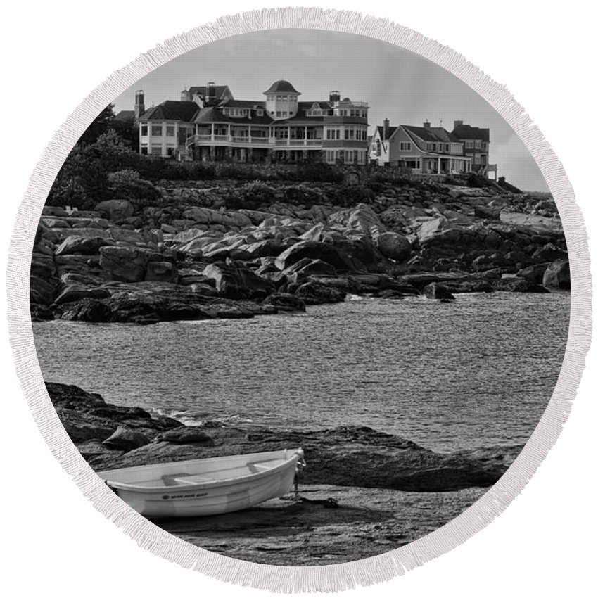 Landscape Round Beach Towel featuring the photograph Lone Row Boat by ChelleAnne Paradis