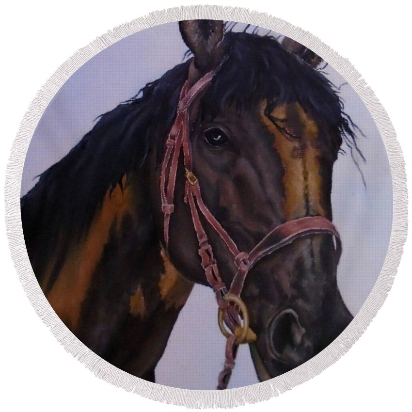Horse Round Beach Towel featuring the painting Lone Star by Faye Anastasopoulou