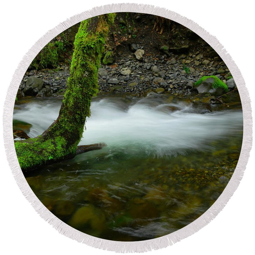Tree Round Beach Towel featuring the photograph Lone Tree And Running Water by Jeff Swan