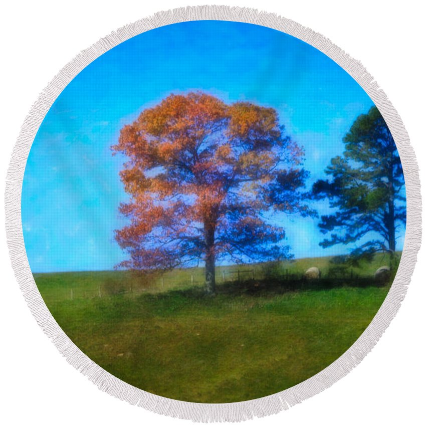 Fall Round Beach Towel featuring the digital art Lone Trees Painting by Teresa Mucha