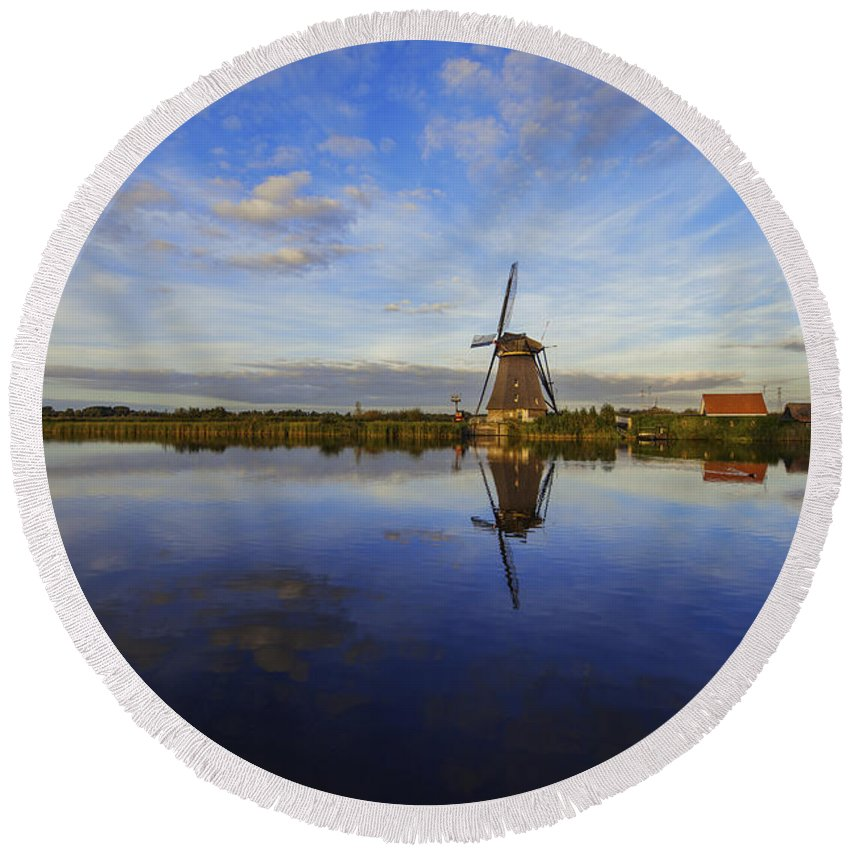 Lone Windmill Round Beach Towel featuring the photograph Lone Windmill by Chad Dutson