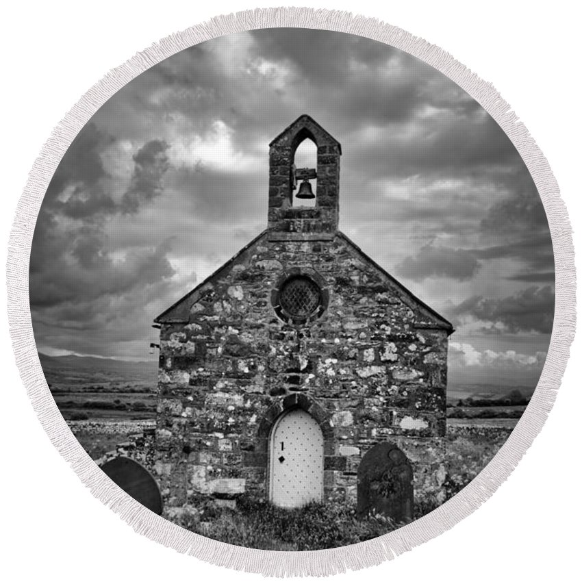 Lone Round Beach Towel featuring the photograph Lonely Chapel by Brainwave Pictures