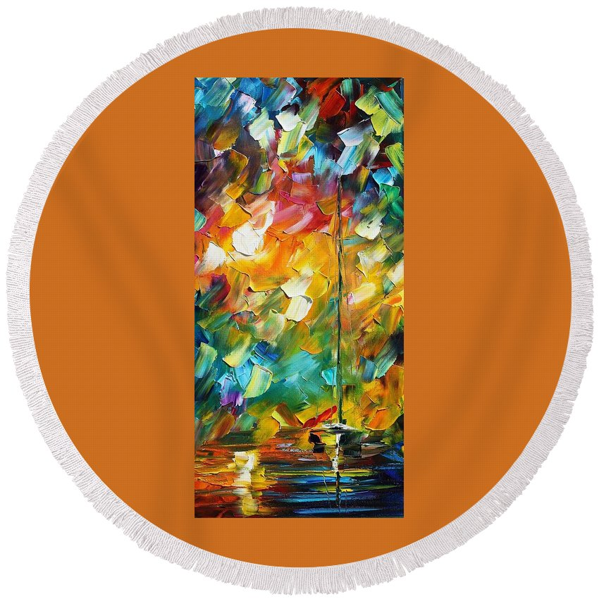 Afremov Round Beach Towel featuring the painting Lonely Sail by Leonid Afremov