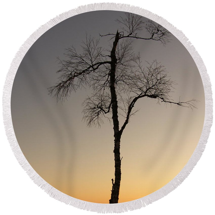 Tree Round Beach Towel featuring the photograph Lonely Tree by Are Lund