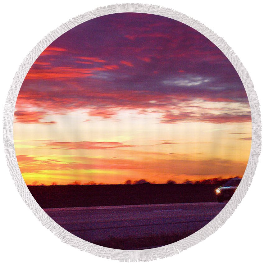 Landscape Round Beach Towel featuring the photograph Lonesome Highway by Steve Karol