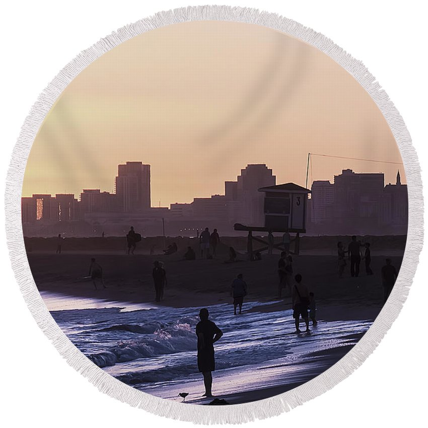 Beach Sunset California West Coast City Skyline Cityscape Ocean Waves Lifeguard Tower People Sihlouette Round Beach Towel featuring the photograph Long Beach Sunset by Colin Houck
