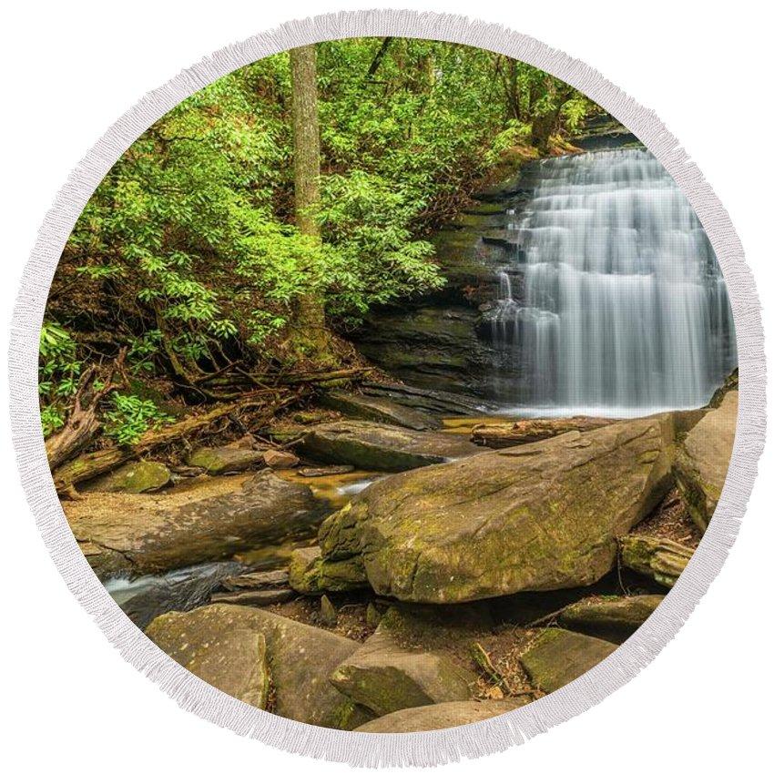 Waterfalls Round Beach Towel featuring the photograph Long Creek Falls by Sandra Burm