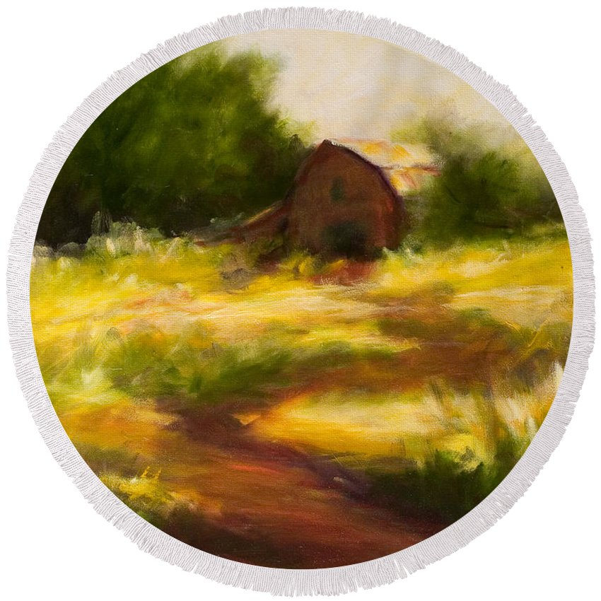 Landscape Round Beach Towel featuring the painting Long Road Home by Shannon Grissom