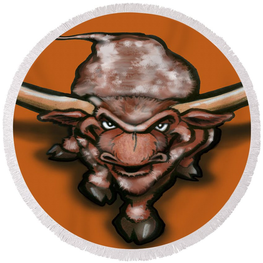Longhorn Round Beach Towel featuring the greeting card Longhorn by Kevin Middleton