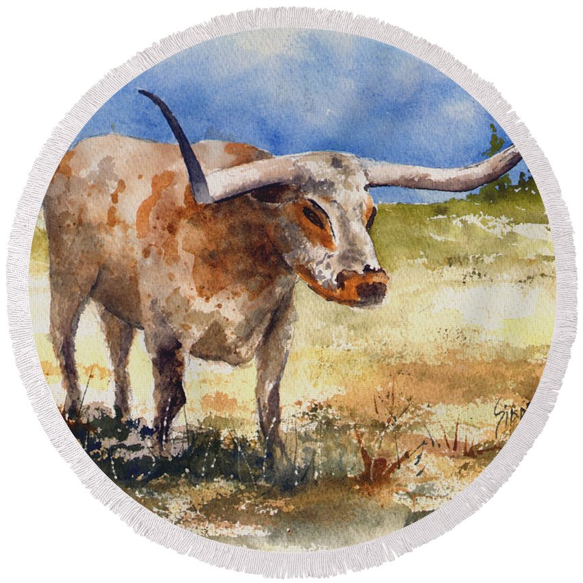 Steer Round Beach Towel featuring the painting Longhorn by Sam Sidders