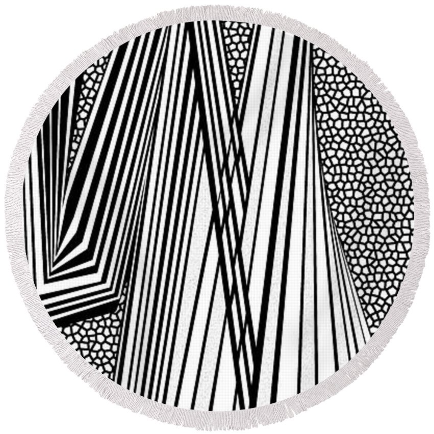 Dynamic Black And White Round Beach Towel featuring the painting Look Around You by Douglas Christian Larsen