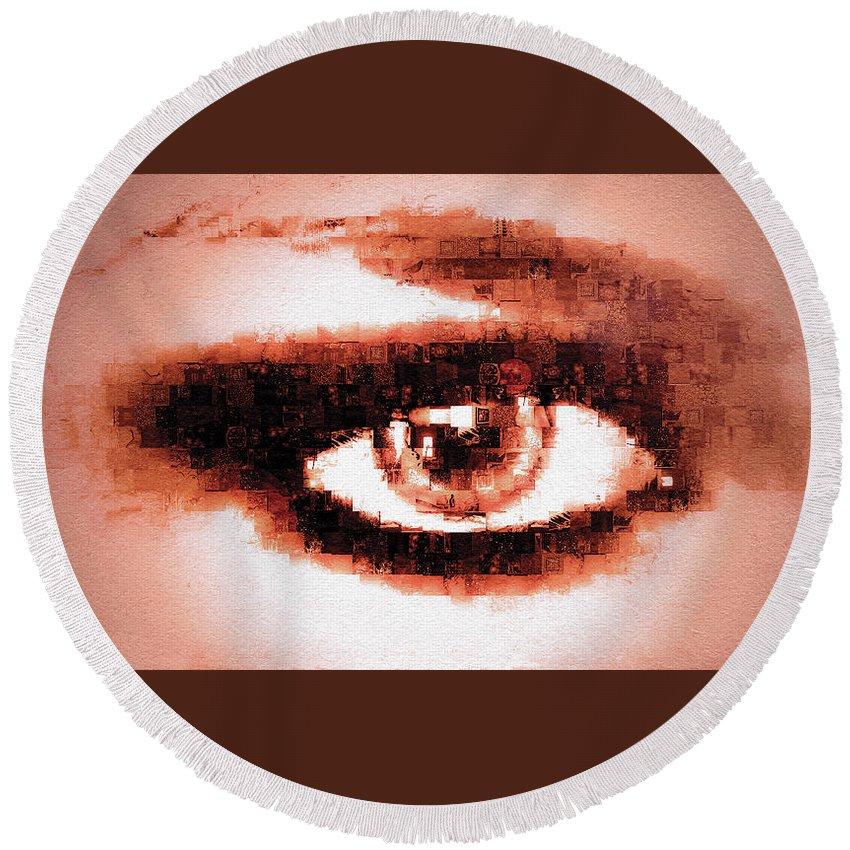 Digital Round Beach Towel featuring the digital art Look Into My Eye by Paula Ayers