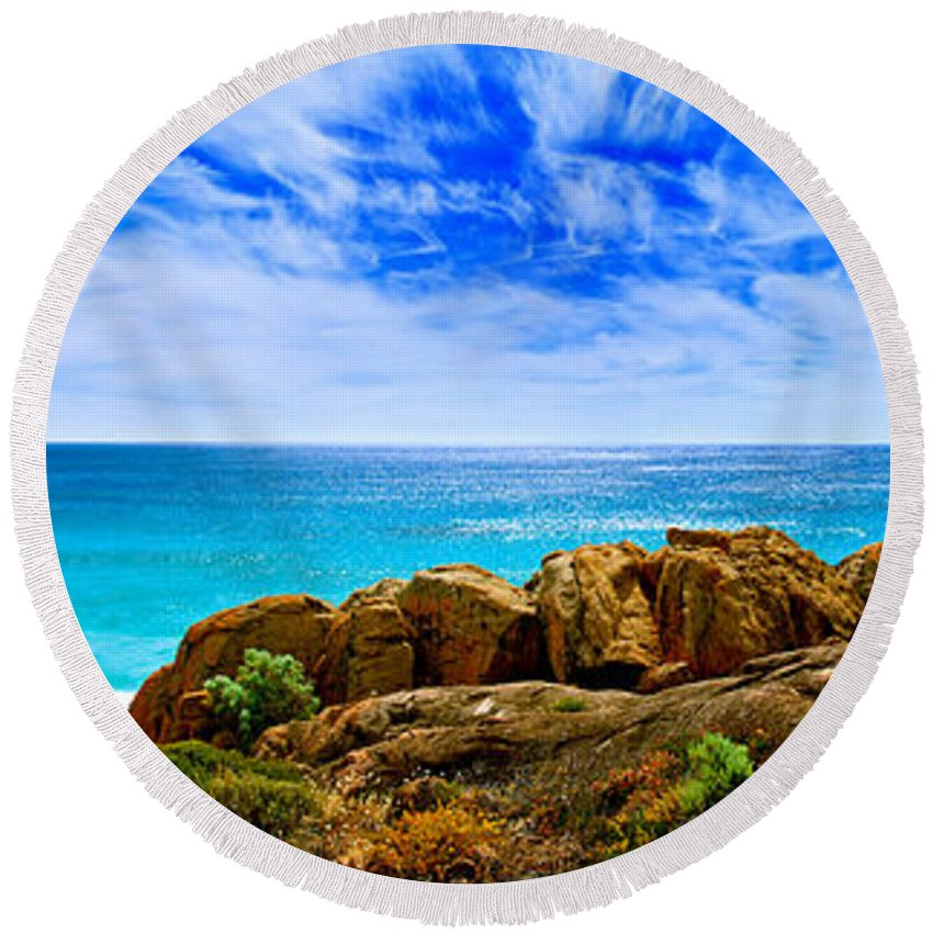 Smith Rock Photographs Round Beach Towels