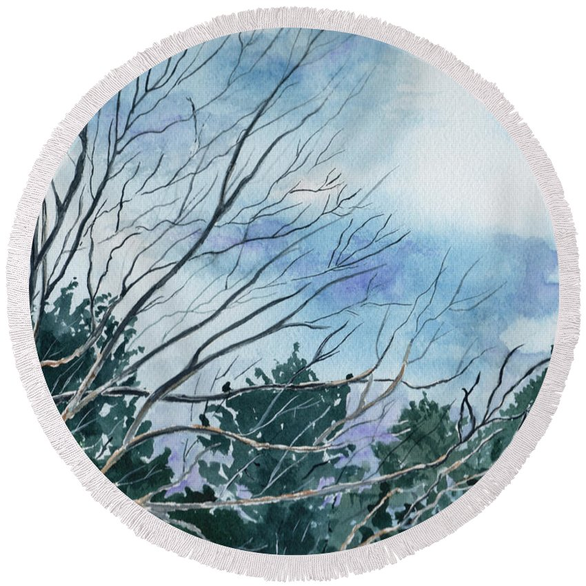 Watercolor Landscape Trees Sky Clouds Blue Round Beach Towel featuring the painting Look To The Sky by Brenda Owen