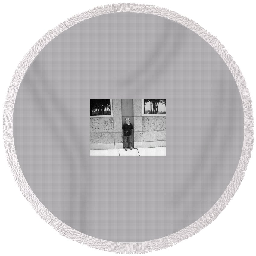 Building Round Beach Towel featuring the photograph Looken Up by Michelle S White